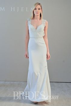 Brides.com: Jim Hjelm - Fall 2014. Style 8460, sleeveless silk crepe and lace A-line wedding dress with a sweetheart neckline and open back, Jim Hjelm