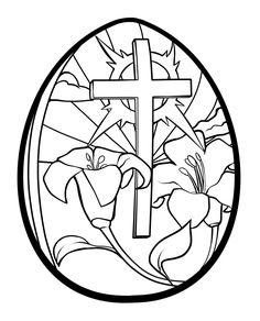 Easter Egg Coloring Pages Printable | Lilies and Cross Easter Egg Coloring Page