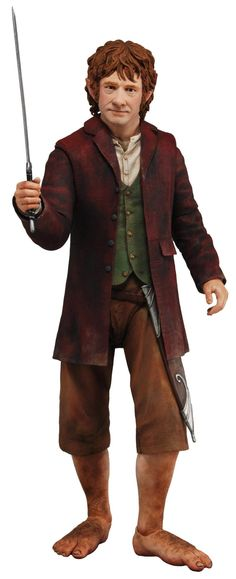 "Bilbo stands 12″ tall and features over 20 points of articulation. He is dressed in his traveling outfit and come with his sword, ""Sting"", and a sheath."
