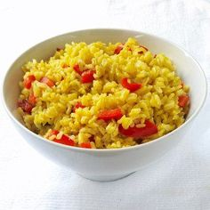 Yellow Rice with Red Bell Peppers | MyBodyMyKitchen