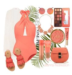 """""""Coral swimsuit."""" by anna-fredriksson ❤ liked on Polyvore featuring Pier 1 Imports, Anna Kosturova, Chloé, Lilliput & Felix, Milani, Too Faced Cosmetics and Dorothy Perkins"""