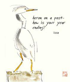 Haiku by Issa, presented on a lovely Haiga