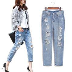 Spring summer 2016 denim pants ladies wear fashion vintage torn ripped jeans