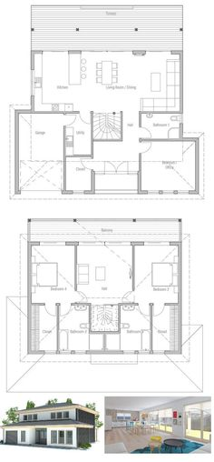 Modern small house plan with full wall height windows and abundance of natural light. Three bedrooms and two living areas. Floor Plan.