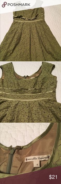 Nanette Lepore beautiful lace overlay lined dress Beautiful green Nanette Lepore dress. Very flattering. Nanette Lepore Dresses