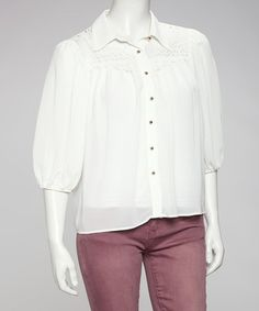 Take a look at this Ivory Crocheted Chiffon Button-Up by Love Point on #zulily today! $19.99, regular 44.00