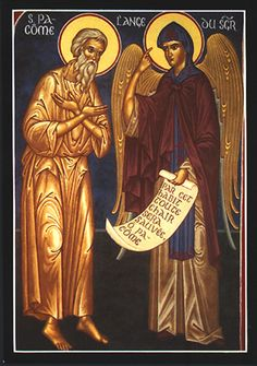 Venerable Pachomius the Great, founder of cenobitic monasticism receiving direction from an angel of God on Divine instruction on acceptable monastic habit.