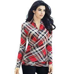 4f942832559 ArtSu Summer Fashion Women Plaid Tops T-Shirts Deep V-Neck Long Sleeve  Elegant Work T Shirt Top Casual Bottoming Tee