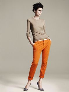 love the cut and color of the pants, would match it with a shorter-arm length top, in the softest baby blue.
