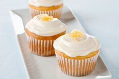 Lemon-Cream Cheese Cupcakes recipe - When life gives you lemons, make cupcakes. These treats are all about the citrus zing: Moist lemon cake is topped with sweet cream cheese frosting with a tangy zest.