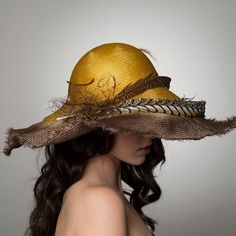 Wide Brim Straw Hat in Yellow and Brown with Pheasant Feathers (€375) ❤ liked on Polyvore featuring accessories, hats, stitch hat, vintage wide brim hat, vintage feather hat, straw cloche hat and yellow hat