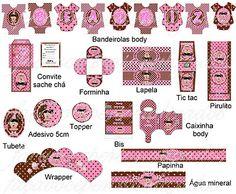 Faça você personalizados: Kit festa chá de bebê marrom e rosa bonecas