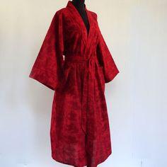 Kimono robe de chambre femme rouge bordeaux en voile de coton imprimé. : Autres mode par akkacreation