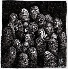 Family Portrait . . #bilincaltindansuyurutmek #alperfiratli #drawing #sketch #crosshatch #pen #horror #creatures #blackandwhite #rapido #rotring #furs #fangs #fantastic #engraving