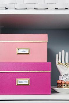 15 Stylish Kate Spade Inspired DIYs: Kate Spade Inspired DIYs: Gold Rimmed Nesting Boxes