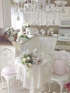 Romantic Shabby Chic Kitchen with Gorgeous Chandelier. Romantic Shabby Chic Kitchen with Gorgeous Chande Romantic Shabby Chic Kitchen with Gorgeous Chandelier. Romantic Shabby Chic Kitchen with Gorgeous Chandelier. Blanc Shabby Chic, Cocina Shabby Chic, Shabby Chic Mode, Shabby Chic Vintage, Shabby Chic Kitchen Decor, Estilo Shabby Chic, Shabby Chic Living Room, Shabby Chic Interiors, Shabby Chic Bedrooms
