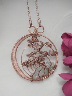 Fil enveloppé larbre de vie pendentif, cuivre avec Aqua Marine, Unique fait main Wire Jewelry Je suis tombée amoureuse de concevoir ma