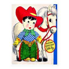 Little Cowboy and Pony - Retro Happy Birthday Postcard