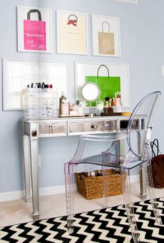 adore magazine--love the framed shopping bags and ghost chair!