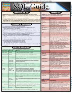 Sql Guide (Quickstudy: Computer) by Inc. laminated guide includes: ·overview of SQL ·databases ·delimiters/operators ·order of operations ·DDL ·DML . Computer Technology, Computer Programming, Computer Science, Computer Tips, Computer Coding, Computer Basics, Python Programming, Gaming Computer, Best Practice