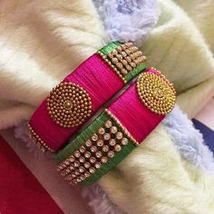 100 Latest Collection of Silk Thread Bangles With Images - Buy lehenga choli online Silk Thread Earrings Designs, Silk Thread Bangles Design, Silk Thread Necklace, Silk Bangles, Bridal Bangles, Thread Bracelets, Thread Jewellery, Kundan Bangles, Black Diamond Studs