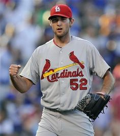 closing pitcher Michael Wacha pumps his fist after defeating the Chicago Cubs 4-0... 8-17-13