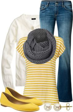 Yellow striped shirt, yellow shoes; gray and white and denim.
