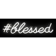 Oliver Gal 'blessed' Led Sign White By (€365) ❤ liked on Polyvore featuring home, home decor, wall art, text, aa - black, sign, words, phrase, quotes and scribble