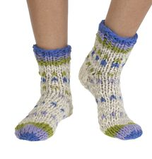 Arica wool sofa/ bed socks in oatmeal   Fairtrade and hand-made by Pachamama