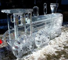 ice sculpture of a train Snow Sculptures, Sculpture Art, Metal Sculptures, Abstract Sculpture, Bronze Sculpture, Ice Art, Ice Castles, Snow Art, Festivals Around The World