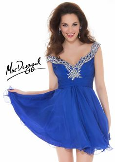 Free Shipping on New Mac Duggal 6400N blue beaded chiffon homecoming dresses available at RissyRoos.com.