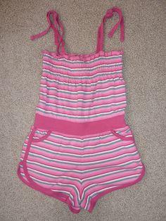 Girls Esprit Pink Striped Cotton Playsuit, Size 7