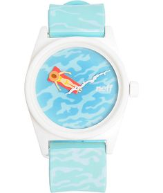 Have fun with your outfits with a blue and green water print adjustable polyurethane strap with a unique girl on a rad minute hand and squiggly white second hand.