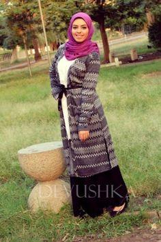 aztec long cardigan hijab look