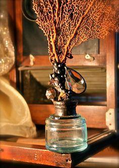 Sea Life Sculpture Sea Fan Topped Aqua Bottle Vintage Ink Well Solder Art Coastal Cottage Home Decor