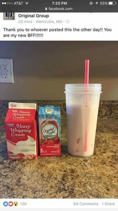 Pour over ice and add 2 Tbs of heavy whipping cream. Pour over ice and add 2 Tbs of heavy whipping cream. Smoothie Drinks, Healthy Smoothies, Healthy Drinks, Desserts Keto, Keto Snacks, Eat Better, Low Carb Drinks, Budget Planer, Keto Drink