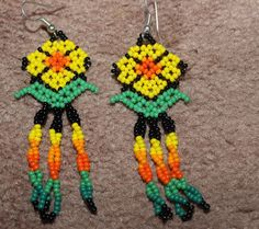 Huichol Peyote Beaded Earrings O #1