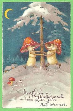 vintage postcard with  Moon Shining on Mushroom Men Dancing Around A Tree