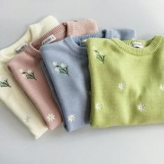2018 Harajuku Autumn Spring Women Sweater Flowers Embroidery Pattern All-match Lady Sweater Long Sleeve Kawaii Pullovers - Sweaters - Embroidery Materials, Embroidery Patterns, Hand Embroidery, Sweater Embroidery, Beginner Embroidery, Japanese Embroidery, Art Patterns, Flower Embroidery, Embroidered Flowers