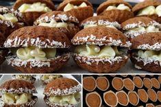 Orieškové mušličky so žĺtkovým krémom Christmas Biscuits, Christmas Baking, Mini Cakes, Cupcake Cakes, Eid Food, Czech Recipes, Croatian Recipes, Sweet And Salty, Desert Recipes