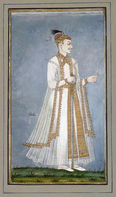 Muhammad-Quli Qutbshah ca. 1900 Opaque watercolor, ink, and gold on paper H: W: cm India Mughal Miniature Paintings, Mughal Paintings, Islamic Paintings, Indian Paintings, King Of India, Freer Gallery, Art Web, Persian Motifs, India Art