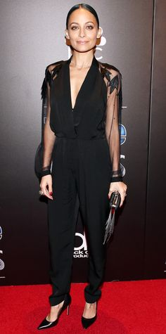 Look of the Day - December 21, 2014 - Nicole Richie in a black jumpsuit from #InStyle