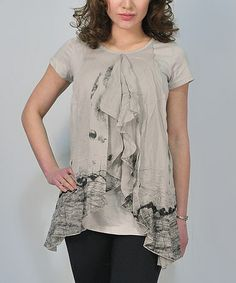 Love this Gray Layered Sidetail Top by Premise Paris on #zulily! #zulilyfinds