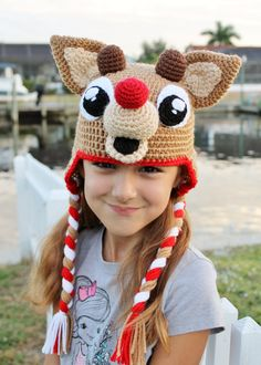 Rudolph the Red Nosed Reindeer Crochet PDF Pattern Tutorial, Rudolph Crochet Hat Pattern, Christmas Crochet Hat Pattern, Holiday Photo Prop Crochet Hat Pattern Kids, Crochet For Kids, Crochet Patterns, Reindeer Hat, Red Nosed Reindeer, Crochet Hook Sizes, Crochet Hooks, Bonnet Crochet, Hat Crochet