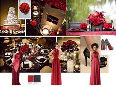 red board : PANTONE WEDDING Styleboard : The Dessy Group