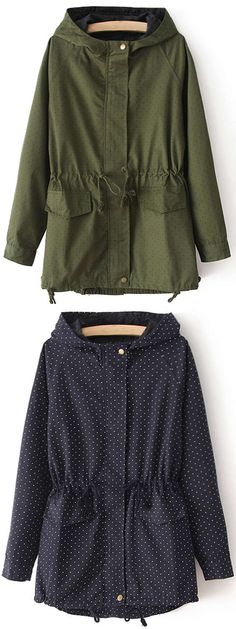 Feel the wind with this dotted coat! This navy piece is detailed with hoodie&side pockets. So cozy&chic at Cupshe.com