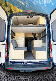 A travel adventure van for four. National & State parks, off-grid boonies, and friend's driveways. Platform bed and dinette. Van Conversion For Family, Van Conversion Plans, Van Conversion Interior, Camper Van Conversion Diy, Ford Transit Camper Conversion, Ford Transit Campervan, Motorhome, Van Bed, Converted Vans