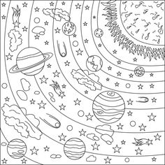 Number Coded Coloring Pages Beautiful Coloring Book Ideas Marvelous solar System Coloring Sheets Space Coloring Pages, Cute Coloring Pages, Adult Coloring Pages, Coloring Pages For Kids, Coloring Books, Eclipse Tattoo, Systems Art, Printable Coloring Sheets, Color By Numbers
