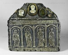 Coffer shaped reliquary in silver gilt with precious stones; Lombard; end of the 8th century CE. National Archeological Museum, Cividale del Friuli, Italy National Archeological ...