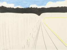 "blastedheath: ""Roger Raveel (Belgian, 1921-2013), Landschap, c.1960. Pastel, ink and graphite on paper, 26 x 35 cm. """